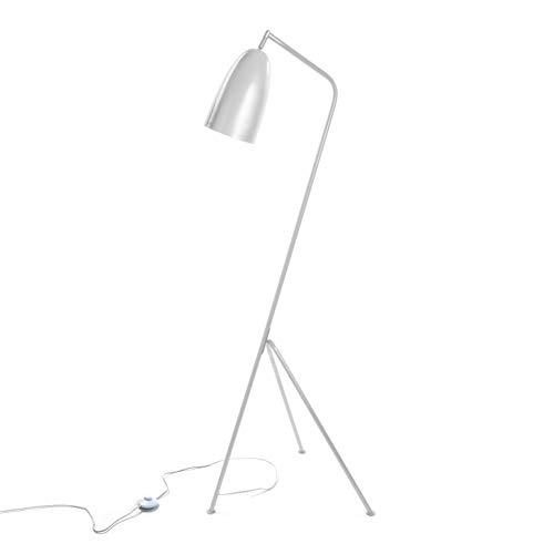 Versa 20840034 Lámpara de pie Gris de Metal Blanca, 148 x 50 x 57 cm