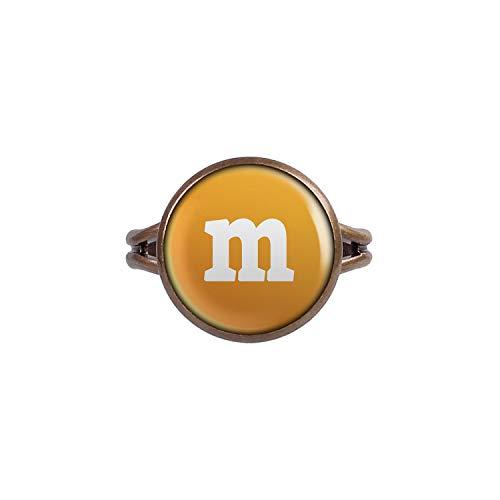 Mylery Anillo con Motivo Letra m Naranja Bronce Diferentes tamaños