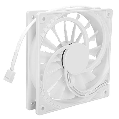 Ventilador de 120 mm, Ventilador de 4 Pines, Ventilador PWM, Ventilador de enfriamiento de Alto Rendimiento, radiador de Escape silencioso de Alto Volumen de Aire, 15 aspas, 4 Pines(White)
