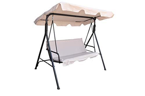 Hollywoodschaukeln 3-Sitzer Mit Abnehmbarem und Neigbarem Sonnendach | Schaukelbank für Garten & Terrasse | Belastbar bis 210 kg | Garden Swing | Gartenschaukel, Gartenliege (Taupe)