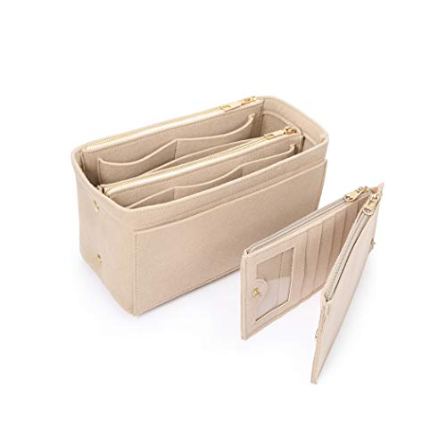 SHINGONETaschenorganizer Filz mit Kreditkartenetui, Damen Bag in Bag Handtaschen Organizermit ReißVerschluss, Innentaschen für Handtaschen