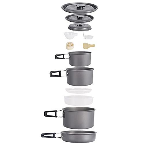 ysgbaba Outdoor-Kochgeschirr-Set, Camping-Kochgeschirr, tragbare 5-6 Personen-Kochgeschirr-Set, Selbstfahrendes Picknickausrüstung, Non-Stick-Kochgeschirr, Outdoor-Geschirr (Color : Black)