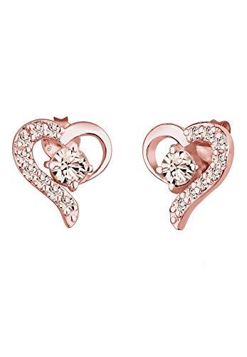 Elli Ohrringe Damen Herz Liebe mit Kristalle in 925 Sterling Silber