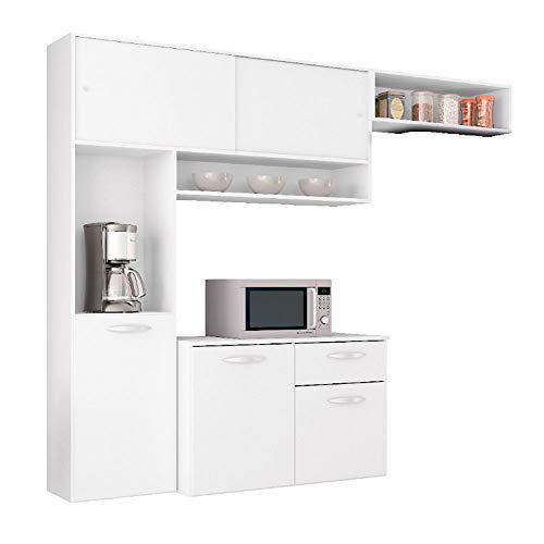Cozinha Compacta Suspensa c/Balcão Thais Brilho-poquema - Branco