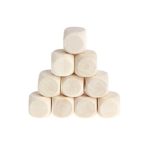 smallJUN 10 Piezas 6 Caras en Blanco Fiesta de Dados de Madera Familia Juegos de Bricolaje impresión Grabado niños Juguetes Dados de Madera Color de Madera