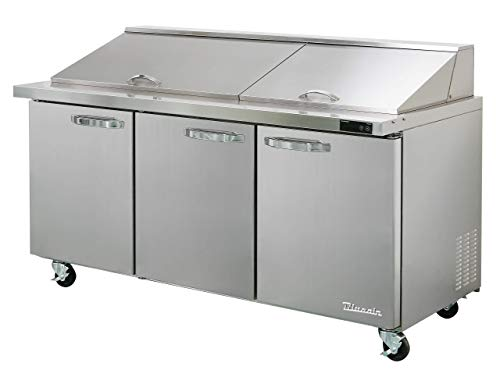 Blue Air BLMT72-HC 3 Door 72 inches Mega Top Refrigerated Sandwich/Salad Prep Table, 20.2 cu. ft, 30 Pan.