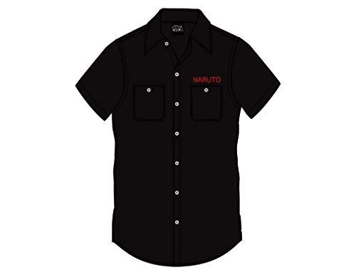 Ripple Junction Naruto: Shippuden Adult Unisex Ichiraku Ramen 100% Cotton Woven Button Up Shirt XL Black