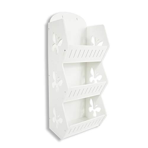 HAOGUT Hänge-Regal Organizer, 3-Fach Stand- oder Wandregal zum Stehen, Aufhängen oder Bohren, PVC Aufbewahrung Bad Hängeregal Küche waschbar 56x22x17cm weiß