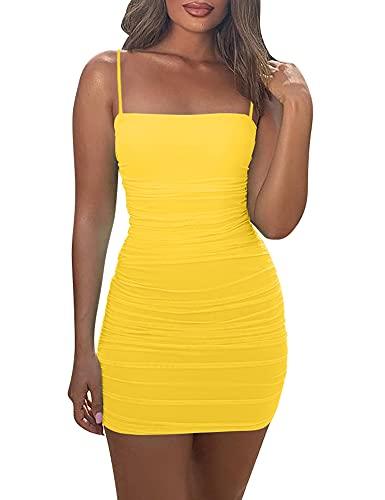 Mizoci Women's Sexy Sleeveless Ruched Spaghetti Strap Bodycon Mini Club Party Dress,Small,Yellow