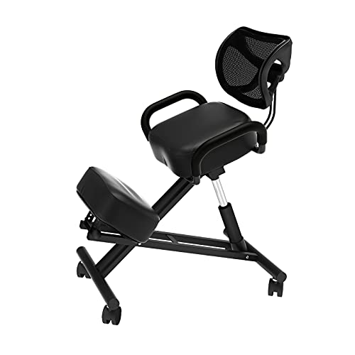 SDHYL Ergonomic Kneeling Chair Leather Black for Home Office with Back Support Backrest and Armrest YKTH-ECK-B
