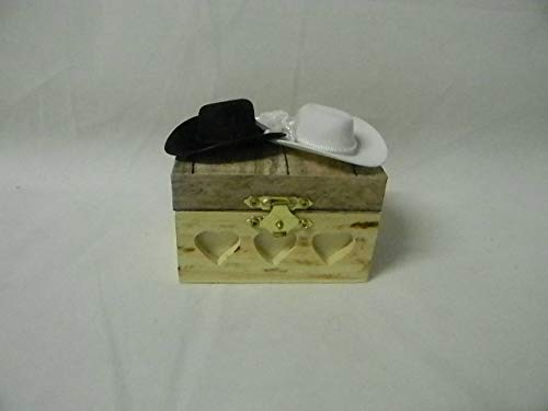 Wedding ceremony Party Ring bearer Pillow Box Hold Rings Western cowboy hats