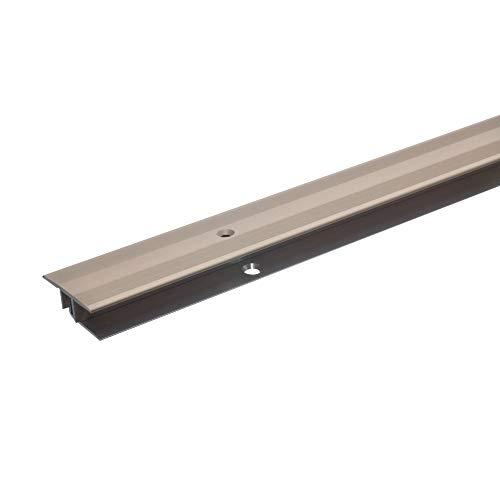acerto 36372 Übergangsprofil Aluminium, 2-teilig - 100cm, 7-15mm bronze-hell * Rutschhemmend * Kratzfest | Übergangsleiste für Teppich-Boden, Laminat & Parkett | Alu-Übergangsschiene