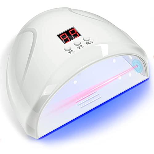 Duvets Lámpara Secador de Uñas LED/UV,36W para Esmalte de Uñas de Gel, Portátil Inteligente lámpara para uñas de Gel, con 3 Ajuste de Temporizadores, lámpara Profesional para uñas con Pantalla LCD