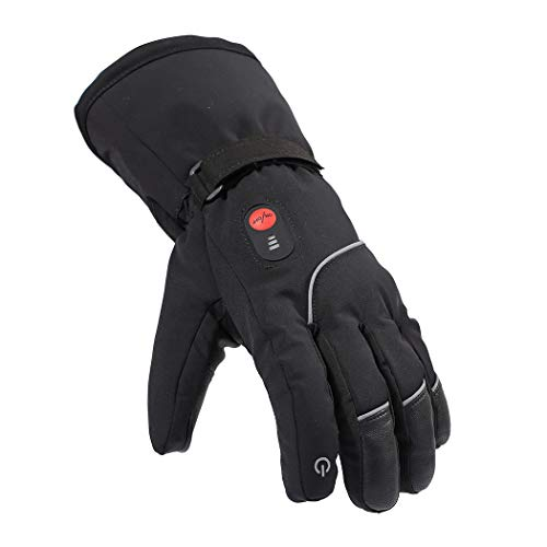 Smilodon Heated Gloves Men Women Rechargeable Battery Electric Heating Glove for Motorcycle Riding Ski Snowboarding Arthritis Raynaud Hands, S14 (Black, XXL)