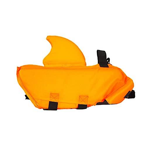 LXTIN Chaleco Salvavidas para Perros Chaleco Salvavidas de tiburón Salvavidas de Seguridad con Alta flotabilidad y asa de elevación para tamaño pequeño, Mediano, Grande, Naranja de veran