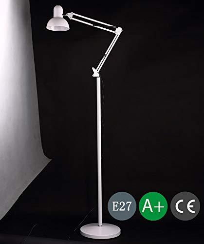 Moderne staande lamp wit van ijzeren lampenkap voor woonkamer, slaapkamer, eetkamer, hotel verstelbare hoek E27 staande lamp, staande lamp, staande lamp, woonkamerlamp leeslamp 150 * 280 * 1850 mm