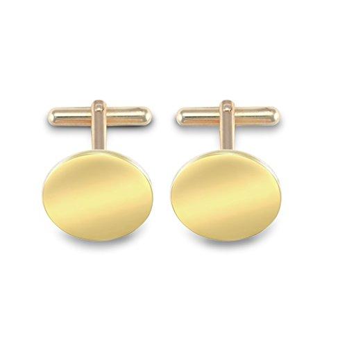Jewellery World Bague en or jaune 9 carats forme ronde Boutons de manchette – Fixations pivotant