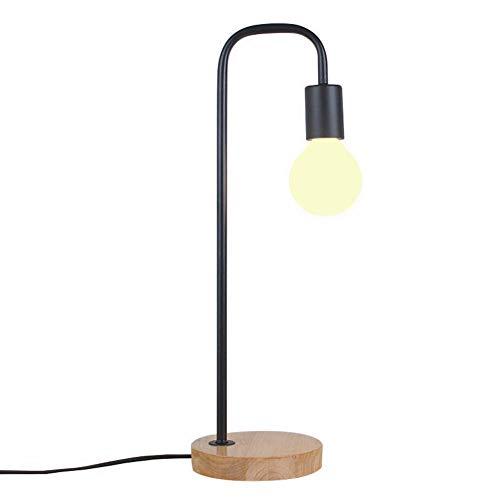 Lámpara De Mesa Moderna Hgffg, Lámpara De Mesa De Madera Maciza Simple, Lámpara De Mesa Con Protección Ocular Led, Interruptor De Botón (Negro)