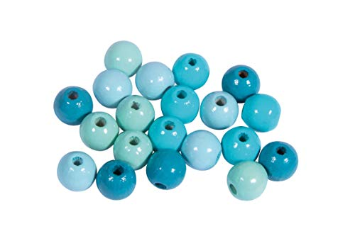 Rayher 12205404 Holz Perlen Mischung, FSC zertifiziert, poliert, 8 mm ø,Türkis-Töne, 84 Stück, Buchenholz, schweiß- und speichelecht, Schmuckperlen, Perlen für Baby-Schnullerketten