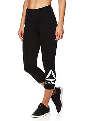 Reebok Women's High Waisted Capri Workout Leggings - Cropped Performance Compression Gym Tights - Wanderlust Black, Medium