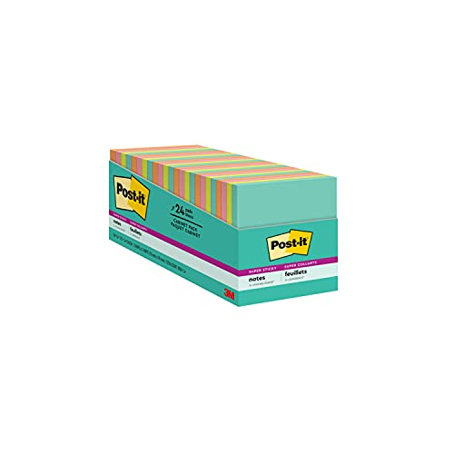 Post-it Super Sticky Notes, 3x3 inches, 24 Pads, 2x the Sticking Power, Miami Collection, Neon Colors (Orange, Pink, Blue, Green), Recyclable(654-24SSMIA-CP)