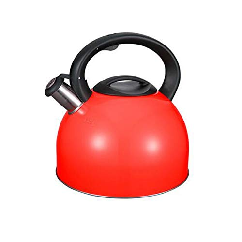 Kettle, Teapot,Coffee Maker, Stainless Steel Kettle,4L Whistling Teapot,Large Capacity,,Best Gift,gas Cooker Universal Kettle (Color : Red, Size : 4L)