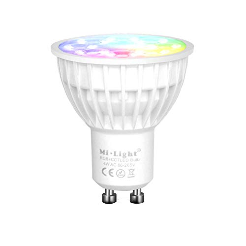 Mi-Light Smart Light Bulb, GU10 4W RGB+CCT LED Spotlight, Dimmable Color Changing LED Lamp, for Movie Night Party Scene, Controlled by Mi Light WiFi ibox/Remote