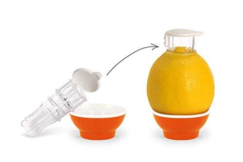 Patent-Safti Entsafter I Der Originale Safti Ausgießer für Zitronen, Orangen etc. I Einfacher als Jede Zitronenpresse oder Saftpresse I BPA frei,(Orange)