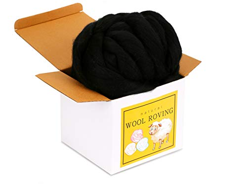 Wool Roving Bulk - 8.82oz Super Wool Chunky Yarn, Wool Roving Top for Needle Felting, Soft Felting Wool Supplies for Hand Spinning, Felting, Blending, Weaving and DIY Craft