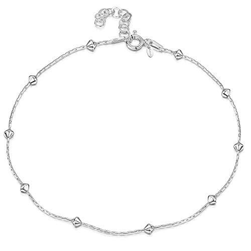 Amberta 925 Fina Plata de ley - Brazalete de Tobillo - 1 mm Pulsera de Serpiente con Perlas - 22 a 25,5 cm - Ajuste Flexible