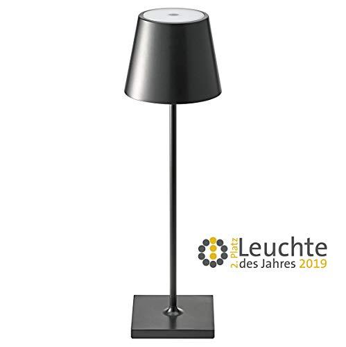SIGOR dimmbare LED-Akku-Tischlampe fŸr Outdoor 180 Lumen, 9 Stunden Laufzeit ohne Kabel Nuindie, schwarz