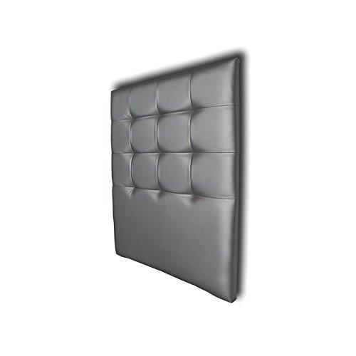 Ventadecolchones - Cabecero Tapizado Acolchado de Dormitorio en Polipiel Modelo Tablet Largo, Plata y Medidas 151 x 125 cm para Camas de 135 ó 150