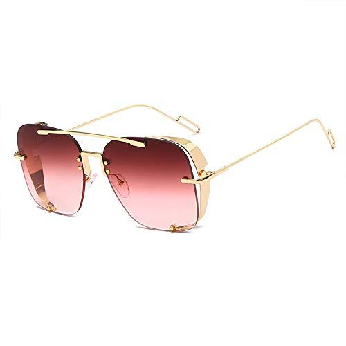 Gafas de Sol Sunglasses Nuevas Gafas De Sol Steampunk Moda Hombres Mujeres Diseñador Vintage Cuadrado Marco De Metal Gafas De Sol Uv400 Gradient Eyewear Goldgradientred