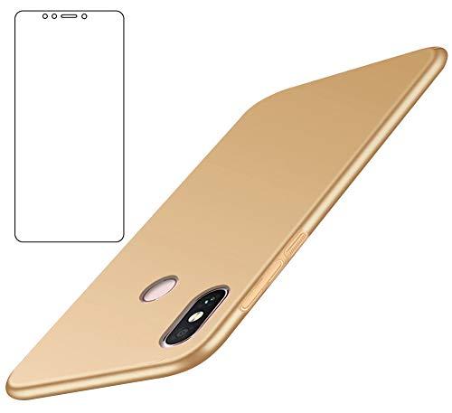 BLUGUL Xiaomi Mi Max 3 Hülle + Panzerglas, Superdünn, Voll Schützend, Seidengefühl, Schutzfolie & Harter Schutzhülle für XiaoMi Max 3, Gold