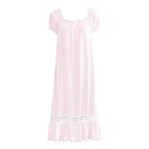 Singingqueen Womens' Cotton Nightgown Nightshirt Ladies Victorian Sleepwear Dress Gown Pajamas Lounger (Pink, Large)