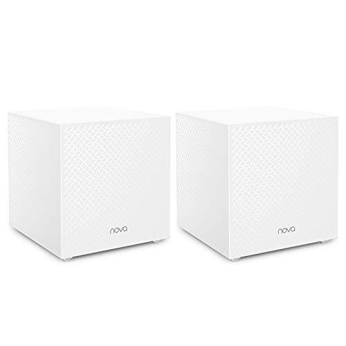 Tenda Nova MW12 WLAN Mesh-System AC2100 Tri-Band (6X Gigabit-Ports, 400m² WLAN-Abdeckung, App-Steuerung, Einfache Installation, Kompatibel mit Alexa, 2er-Pack) Ersetzt Router, Repeater & Powerline