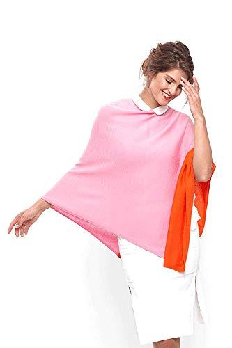 Modassori Damen Trend-Mode Poncho Stola Merinowolle Pink Orange Geschenk