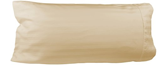Egyptian Cotton Luxury Striped 540 Thread Count Body Pillow Cover, 21 x 60 Inch, Striped Ivory