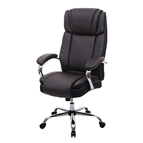 Mendler XXL Bürostuhl HWC-H94, Drehstuhl Schreibtischstuhl Chefsessel, 220kg belastbar Federkern Kunstleder ~ braun