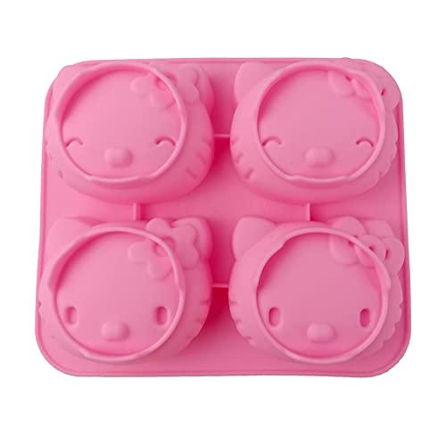 Jelly beans6 DIY 4 Cavity Cute mold cat, Hello Kitty Silicone Baking Mold,Chocolate Candy Tools,Non-stick food-grade silicone molds candy, jelly, ice cubes, cake decoration.(Pink)