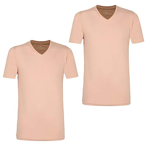 Götzburg Herren T-Shirt im Doppelpack, 2 Stück, X-Lastic, Business (6 (L), Haut (Herstellfarbe: braun-hell-Uni))
