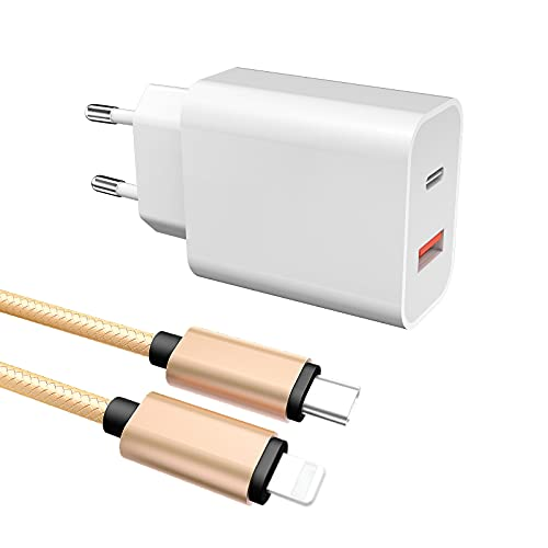 Froggen Caricatore USB C 18W Quick Charge 3.0 Power Delivery 3.0 Caricabatterie USB con 2 Porta e 1M Cavo USB C a iOS Fast Charge Compatibile con Huawei/Galaxy/Pad/Xiaomi/Phone (Bianco)