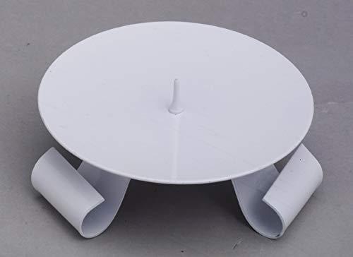 Kerzenhalter Dreifuß Eisen weiß gelackt mit Dorn Ø 11,5 cm ideal für Taufkerzen, Kommunionkerzen, Hochzeitskerzen