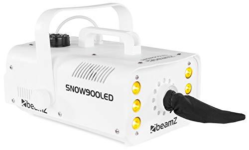 beamZ Snow 900 LED Schneemaschine Schneekanone Effektmaschine (900 Watt, farbig, RGW LEDs, 1 Liter Tank, Fernbedienung, Tragebügel) weiß