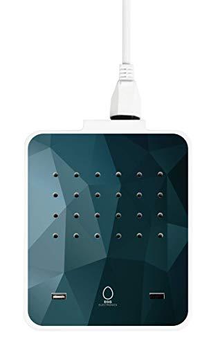 EGG ELECTRONICS PowerStation, innovative Ladestation, lädt bis zu 15 Eurostecker Typ-C + 2 USB-Ports gleichzeitig, Steckdosenleiste, Mehrfachsteckdose, Überspannungsschutz, 1.5m Kabel, ICEBERG