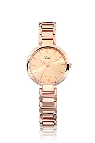Titan Raga Viva Reloj analógico de oro rosa con correa de metal de oro rosa para mujer