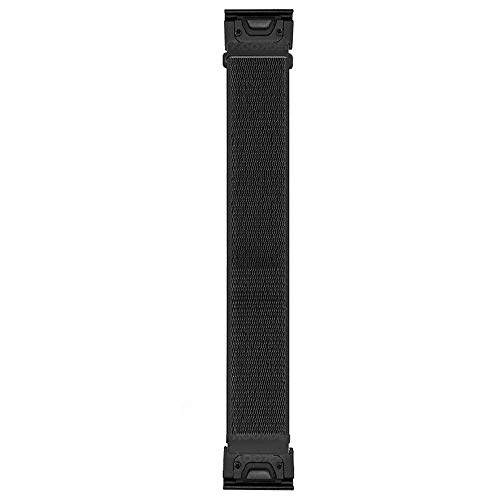 PONATTENO 22mm QuickFit Nylon Watch Band for Fenix 6/Fenix 5, Soft Loop Sport Wristband Strap for Garmin Fenix 6 Pro/Sapphire,Fenix 5/Fenix 5 Plus, Instinct,Forerunner 935/945,Quatix 5 (Black)