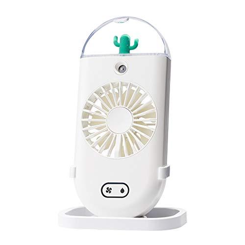 Ventilador De Nebulización De Mano Ventiladores Eléctricos Recargables USB Portátiles De Refrigeración Pequeña con Pulverizador De Agua para Viajes/Acampar/Exteriores,Blanco