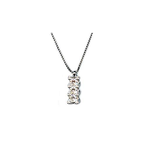 Collana In Oro Bianco 18kt 750/1000 Con Diamanti Modello Trilogy Ct 0.19