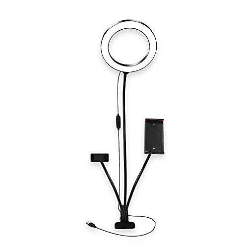 ROM 20cm Anillo LED Live Beauty Clip Luz de Relleno Doble Clip para teléfono móvil Selfie Fotografía USB Luz de Relleno en Vivo